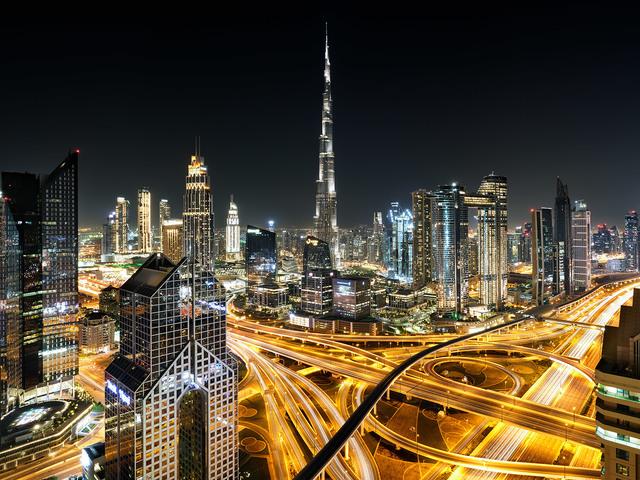 Andrew Prokos, 'View of Burj Khalifa and Dubai at Night', 2020, Photography, Archival Pigment Print, Andrew Prokos Fine Art Photography