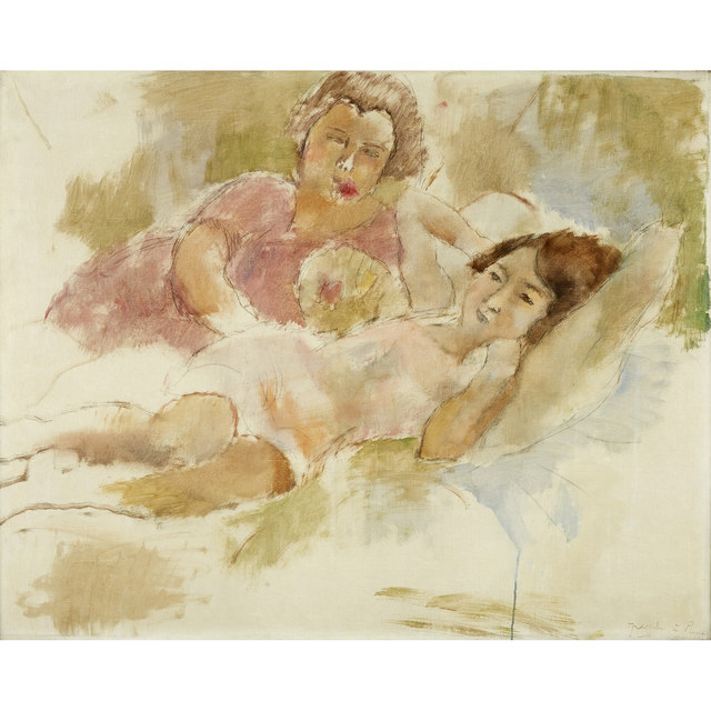Jules Pascin, 'Les Deux Amis', 1928, Painting, Oil and crayon on canvas, Freeman's