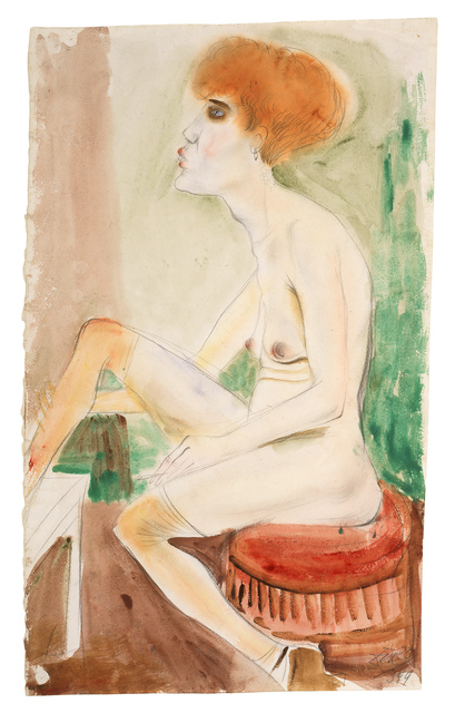 Otto Dix, 'Red-Haired Nude with Red Stockings (Red-Haired Girl)', 1925, Galerie St. Etienne