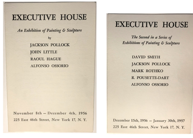 """Jackson Pollock, 'TWO PIECE SET- """"An Exhibition of Painting & Sculpture"""" (first & second show), 1956, Executive House Hotel (lobby), Group Show Invitation,', 1956 & 1957, VINCE fine arts/ephemera"""