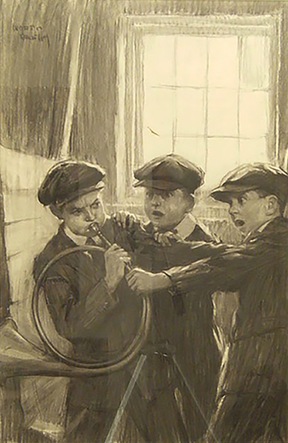 "Worth Brehm, 'Penrod, Sam and Roddy Bits fighting for the ""Horn of Fame""      ', 1910-1918, The Illustrated Gallery"