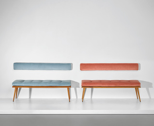 Pair of benches, designed for a private residence, Verona