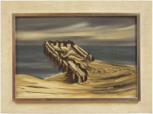 Richard Florsheim, 'Seascape with Pier', 20th Century, Lions Gallery