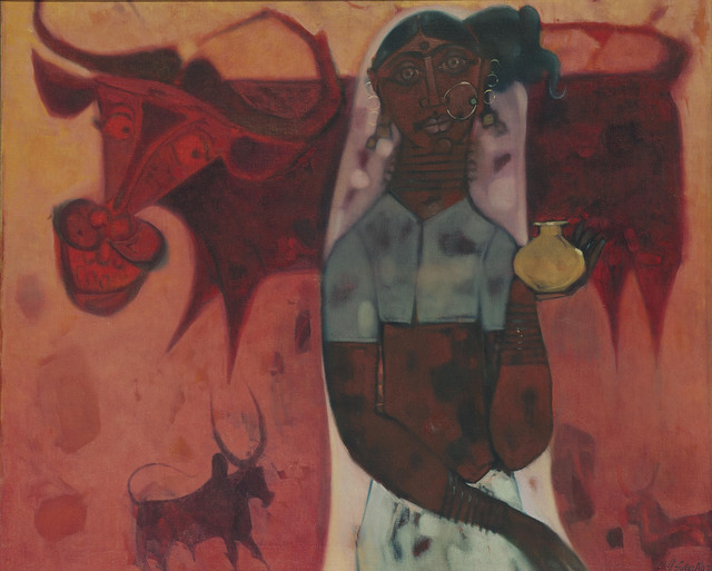 J. Sultan Ali, 'Milkmaid', 1971, Painting, Oil on canvas, Christie's South Asian + Chinese
