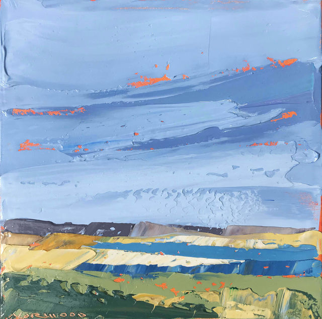 """, '""""Great Pond Bar"""" Painterly Impasto Landscape with Yellows Blues Greens,' 2018, Eisenhauer Gallery"""
