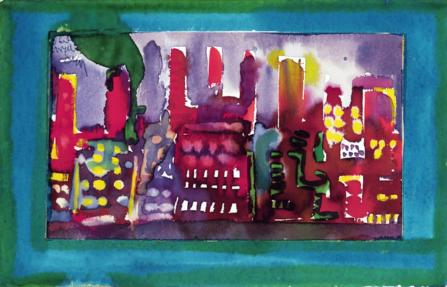Romare Bearden, 'Cityscape - New York Scene', ca. 1985, Drawing, Collage or other Work on Paper, Watercolor on paper, Hemphill Artworks