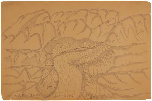 Joseph Yoakum, 'Mt. Gebel Ataoa near Suez, Egypt', n.d., Drawing, Collage or other Work on Paper, Graphite on paper, Cavin-Morris Gallery