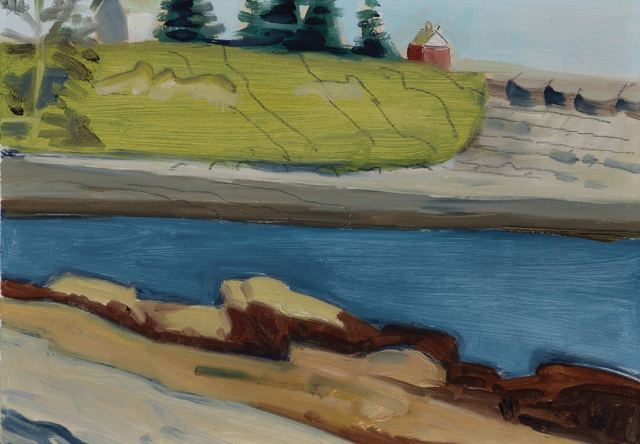 Lois Dodd, 'Pond with a Barn in Background', 1990, Painting, Oil on aluminum, Doyle