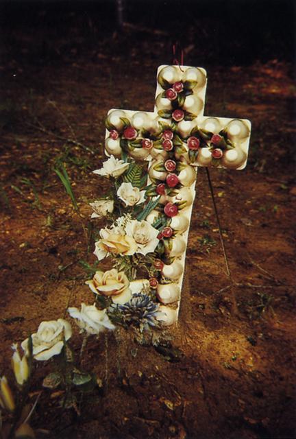 William Christenberry, 'Grave with Egg Carton Cross, Hale County, Alabama', 1975, Photography, Dye transfer print, Jackson Fine Art