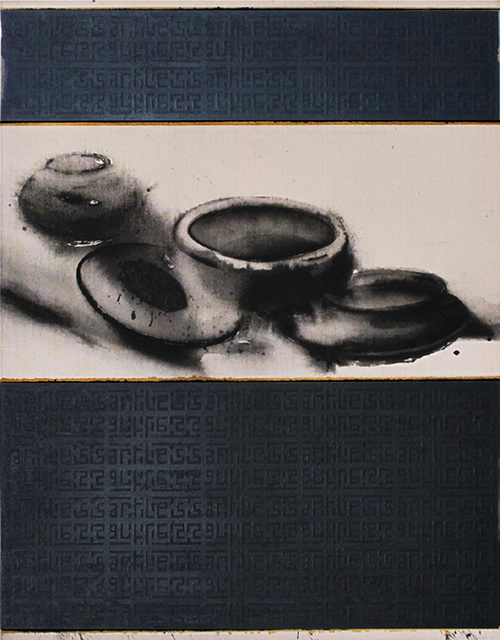 """Madhu Basu, 'Artless, Still Life Painting, Acrylic, Pigment on canvas, Black, White by Contemporary Artist """"In Stock""""', 2018, Gallery Kolkata"""
