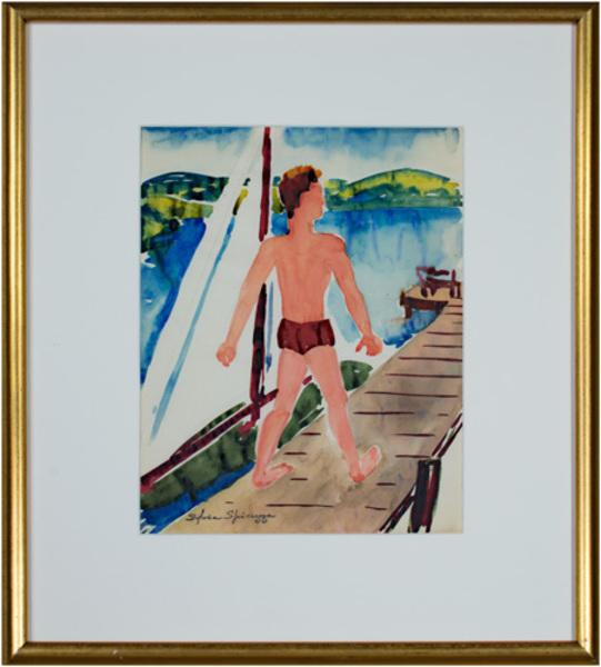 , 'Man With Sailboat On Pier At Cedar Lake #756,' ca. 1940s, David Barnett Gallery