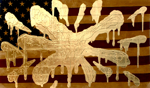 , 'Extremely Bombed Flag (Gold),' 2018, Galerie Droste