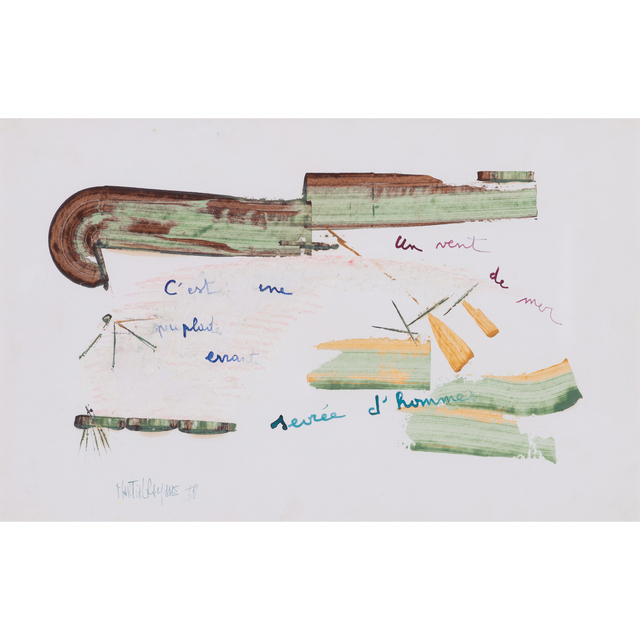 Martial Raysse, 'C'est une peuplade errante servée d'hommes, un vent de mer', 1958, Drawing, Collage or other Work on Paper, Mixed media on paper, PIASA