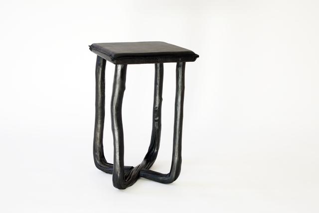 Johannes Hemann, 'Pressed Wool Black Stool', 2014, Sculpture, Beech, leather