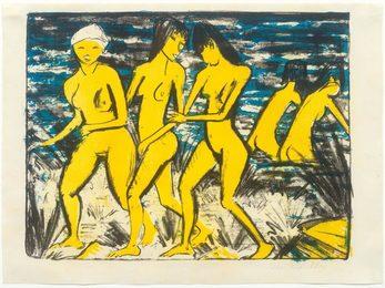 Fünf gelbe Akte am Wasser