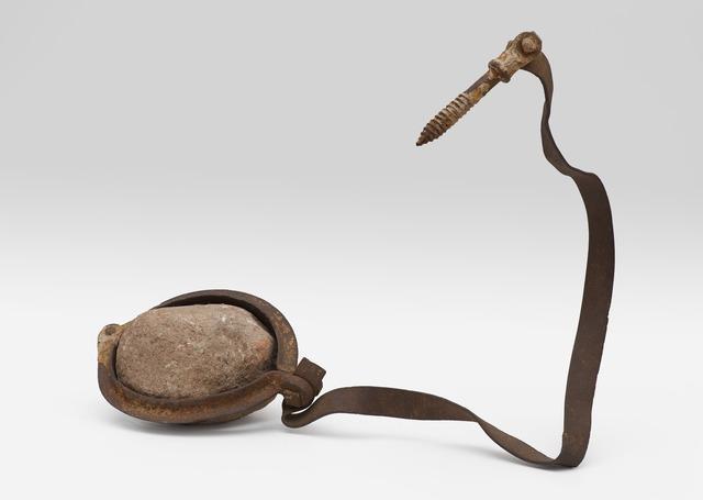 Robert Rauschenberg, 'Untitled (Elemental Sculpture) [steel flange and stone]', ca. 1953, Sculpture, Hinged steel flange, stone, steel strap, and iron bolt, San Francisco Museum of Modern Art (SFMOMA)