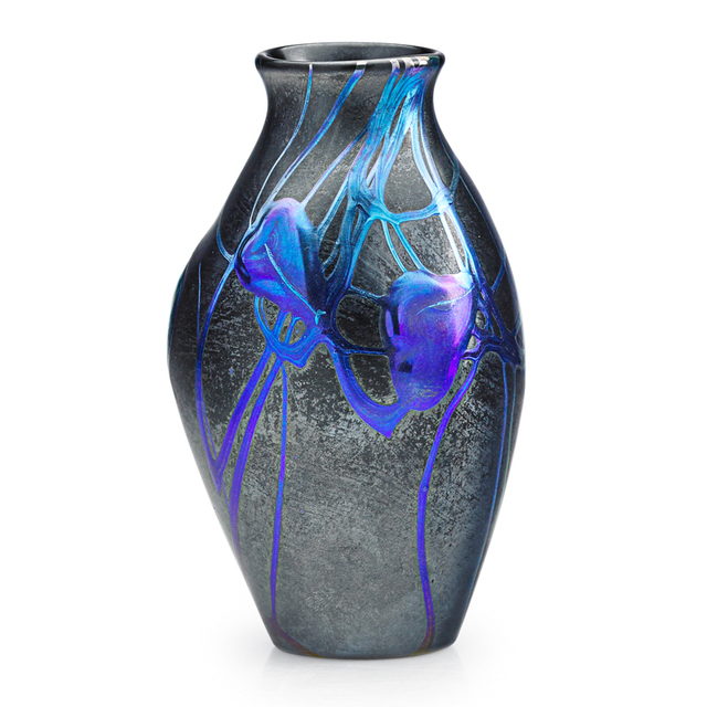 Tiffany Studios, 'Rare, Possibly Experimental, Black And Blue Favrile Leaf And Vine Vase, New York', ca. 1910, Rago/Wright
