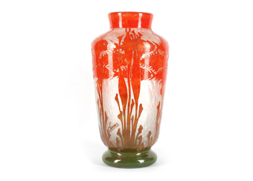 A large Art Deco cameo glass Poissons vase