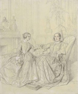 Jean-Auguste-Dominique Ingres, 'Comtesse Charles d'Agoult, née Marie d'Agoult, and her daughter Claire d'Agoult', 1849, Christie's Old Masters