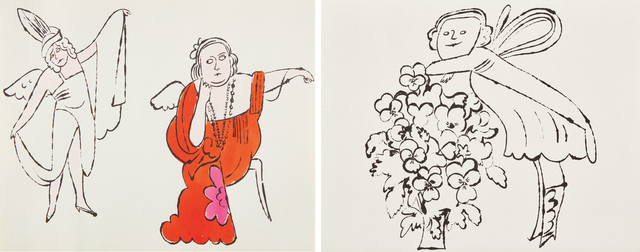 Andy Warhol, 'In the Bottom of My Garden: two plates', ca. 1956, Print, Two offset lithographs (one with hand-coloring), on wove paper, the full sheets, Phillips
