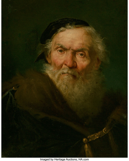 Giuseppe Nogari, 'Bearded old man wearing a fur-trimmed cloak with gold clasp', circa 1750, Heritage Auctions
