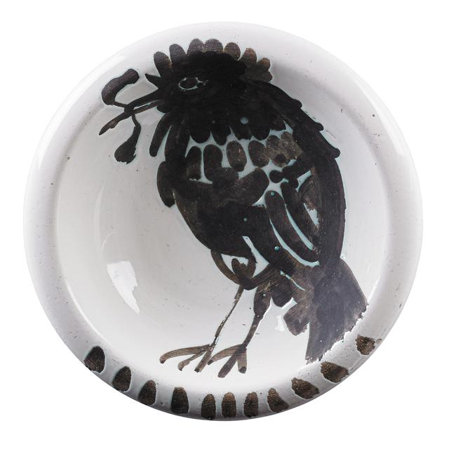 "Pablo Picasso, 'Ashtray, ""Bird with Worm (Oiseau au Ver),"" France', 1952, Design/Decorative Art, Glazed earthenware with oxidized paraffin decoration,, Rago/Wright"