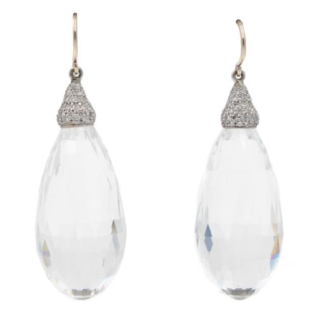 , 'Diamond Quartz Platinum Drop Earrings,' , form & concept