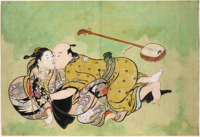Nishikawa Sukenobu, 'Sexual dalliance between man and geisha,' ca. 1711-16, British Museum