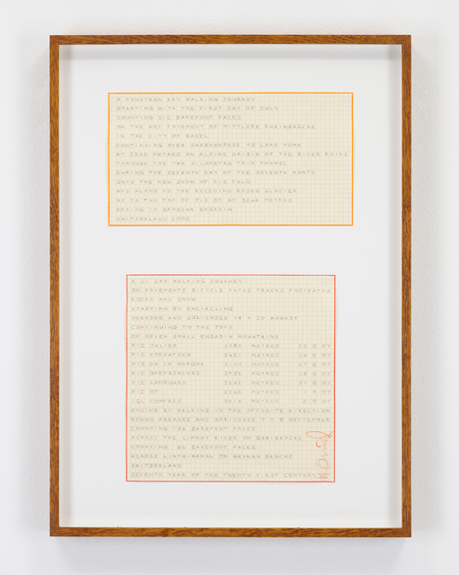 Hamish Fulton, 'Untitled (Two Swiss Walk Texts)', 2005-2007, Drawing, Collage or other Work on Paper, Pencil text on paper, Parafin
