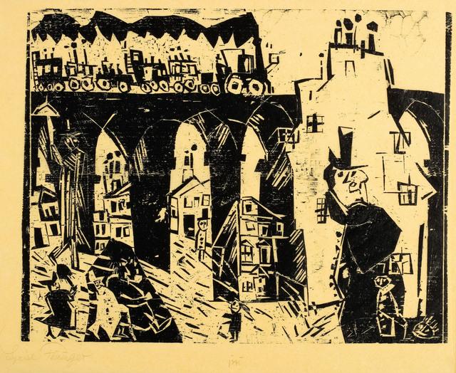 , '(Die Eisenbahnbrücke) (Railroad viaduct),' 1919, Moeller Fine Art