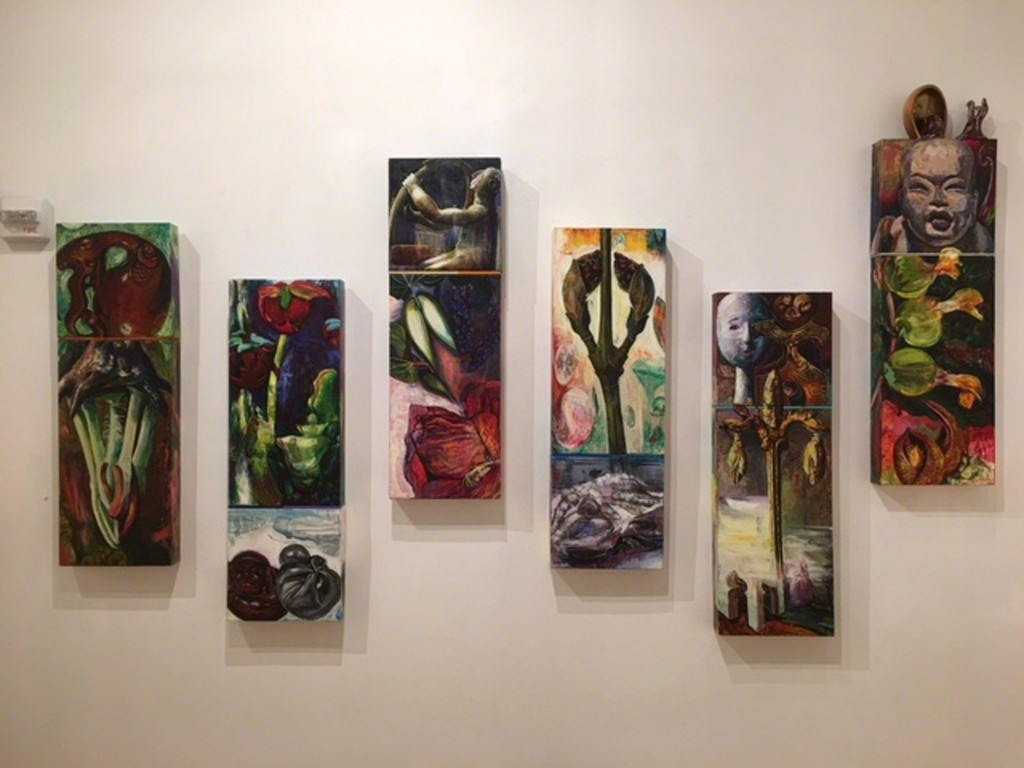"Kathleen Shanahan's pieces in ""The Heat is On"" exhibit at Viridian Artists gallery."