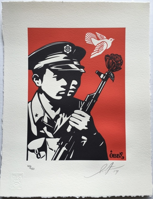 Shepard Fairey, 'Chinese Soldier - Letterpress', 2014, Blackline Gallery