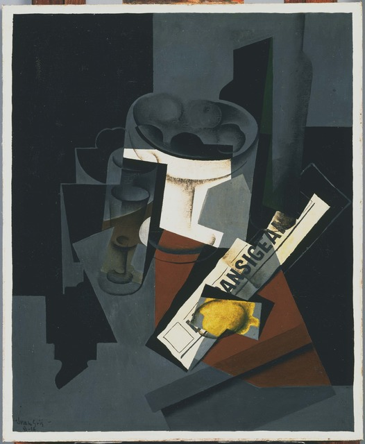 Juan Gris, 'Still Life with Newspaper', 1916, Painting, Oil on canvas, Phillips Collection