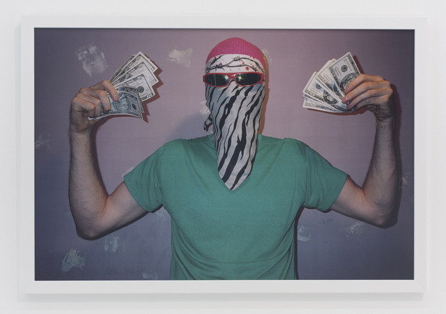 , 'In bathroom with gray bandana and sunglasses covering face,' 2001, The Hole