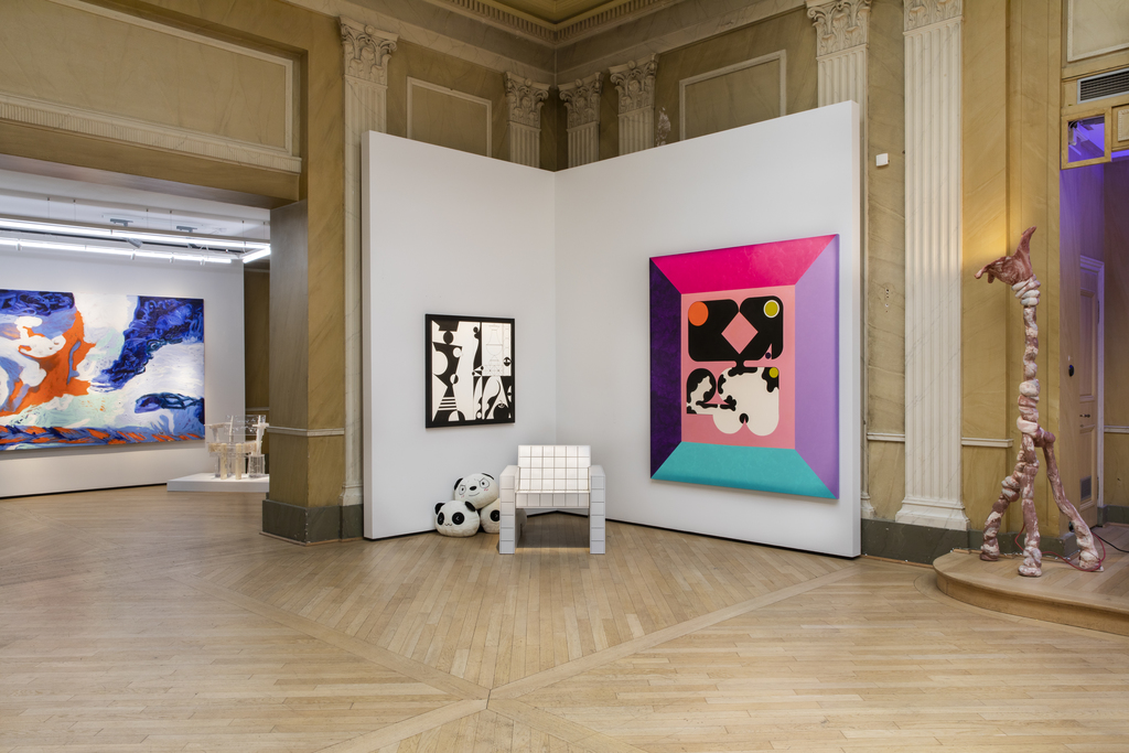 """From left: Donna Huanca """"ORANGE OVARY"""", Théophile Blandet """"TPC 4"""", Ad Mioliti's """"Queer Modulor -Panda-"""" and """"Logo"""", Finn Meier """"Edge Chair"""" and OrtaMiklos """"The Pelly"""""""