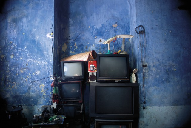 , '10_Still life with blue arcade,  stacked televisions and percolator,' 2011, Art Vietnam Gallery