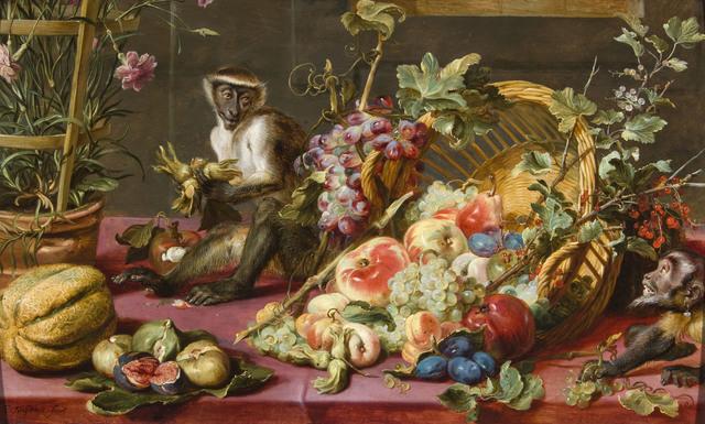 , 'Still life with monkeys stealing fruit and a pot of pink carnations,' 1549 -1570, De Jonckheere