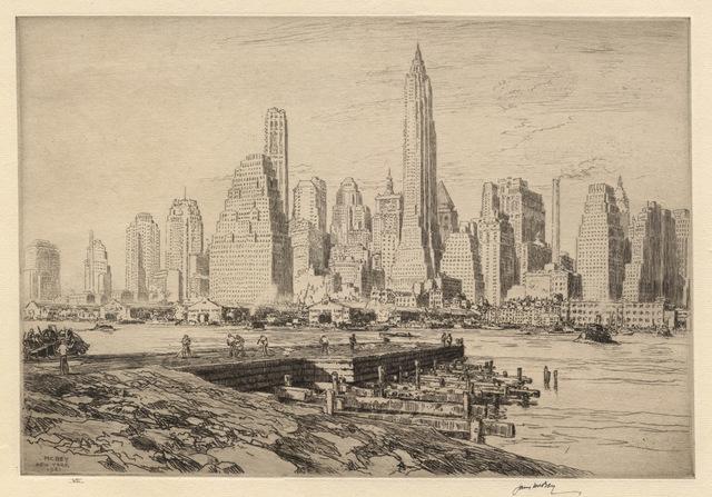 James McBey, 'New York Harbour', 1941, Print, Etching, Conrad R. Graeber Fine Art