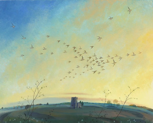 , 'Golden Plover over Knowlton,' 2017, Portland Gallery