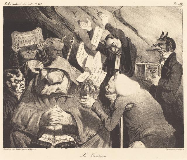 Honoré Daumier, 'La Tentation, parodie d'une toile de Téniers', 1834, National Gallery of Art, Washington, D.C.