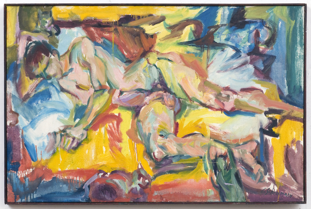 Carolee Schneemann, 'Personae: JT and Three Kitch's', 1957, Painting, Oil on Canvas, P.P.O.W