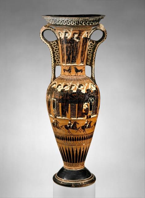 Unknown Greek, 'Terracotta loutrophoros (ceremonial vase for water)', late 6th century B.C., The Metropolitan Museum of Art