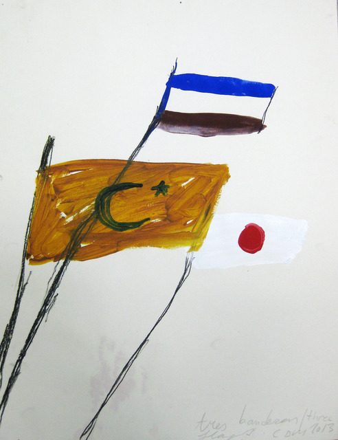 Cristina de Miguel, 'Three Flags', 2013, Drawing, Collage or other Work on Paper, Acrylic and charcoal on paper, BAM (Brooklyn Academy of Music) Benefit Auction