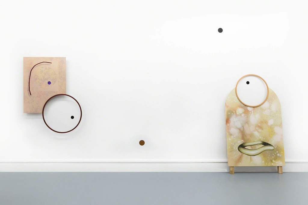 Dominik Halmer Touch Acryl, Öl, Glitter auf Leinwand auf MDF Holz 109 x 83 cm 2017  Facility Acryl, Öl auf Nessel, auf MDF Holz 175 x 100 cm 2017