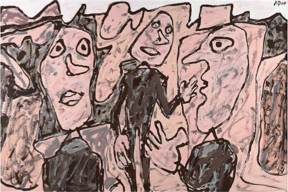 Jean Dubuffet, 'Paysage rose avec personnages vêtus de noir', 1975, DIE GALERIE