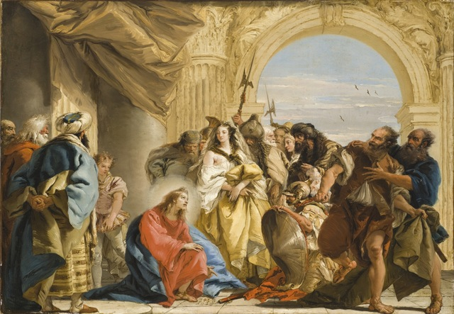 Giovanni Domenico Tiepolo, 'Christ and the Woman Taken in Adultery', 1752, Los Angeles County Museum of Art
