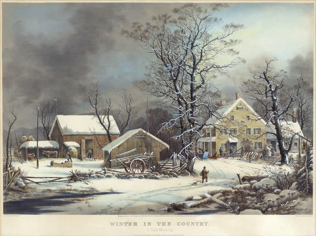 , 'Winter in the Country. : A Cold Morning.,' 1864, The Old Print Shop, Inc.