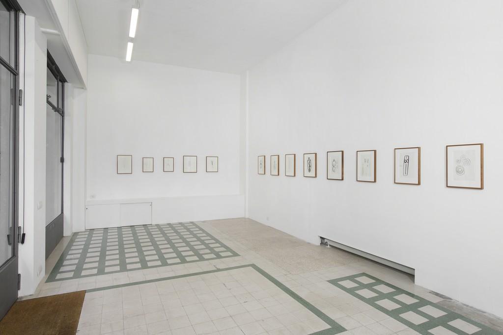 Installation view: Ana Mendieta's exhibition, 2016 via A. Stradella 1, Milano