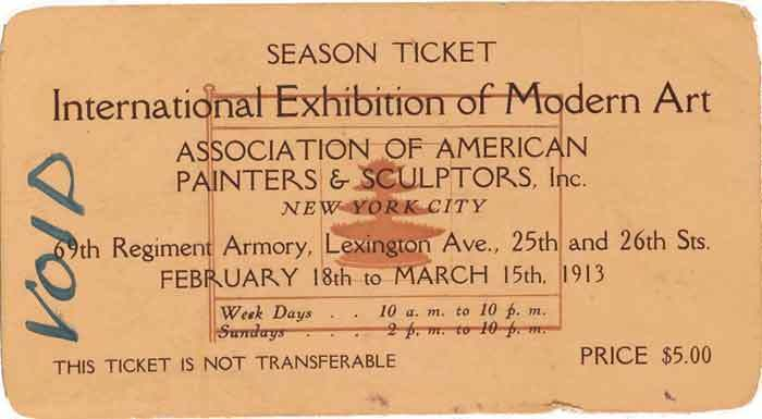Ticket to International Exhibition of Modern Art, February-March, 1913, from the Walt Kuhn papers