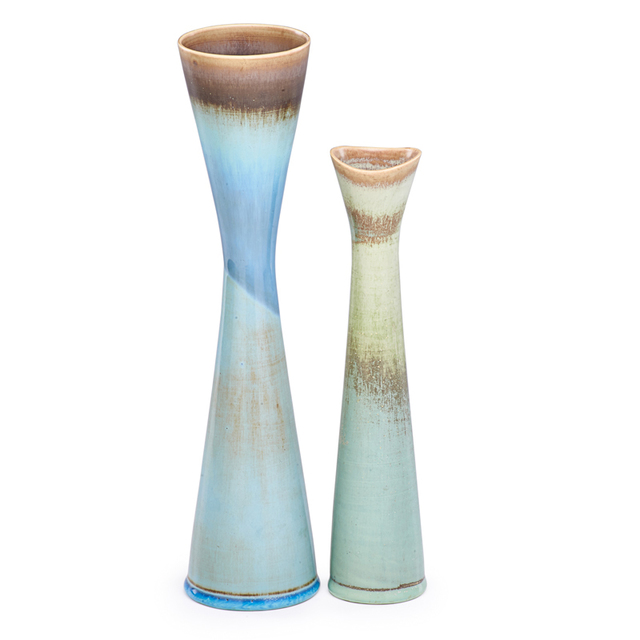 Stig Lindberg, 'Two Corseted Vases, Turquoise and Blue Hare'S Fur Glazes, Sweden', mid-20th C., Rago/Wright